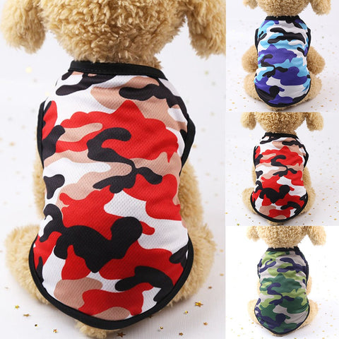 2019 Hot Cute spring summer Dog Clothes Printed Camouflage Mesh Dog Vest For Small Medium Dogs Pet Puppy T Shirt Size XS-2XL