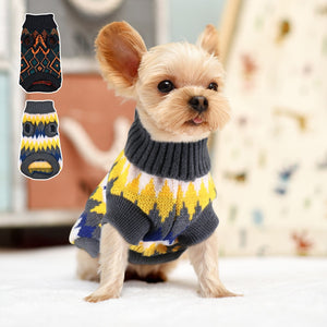 Soft Warm Dog Sweater Classics Plaid Dog Knit Sweaters Small Medium Dogs Cats Winter Clothes Pet Clothing For Chihuahua Pug