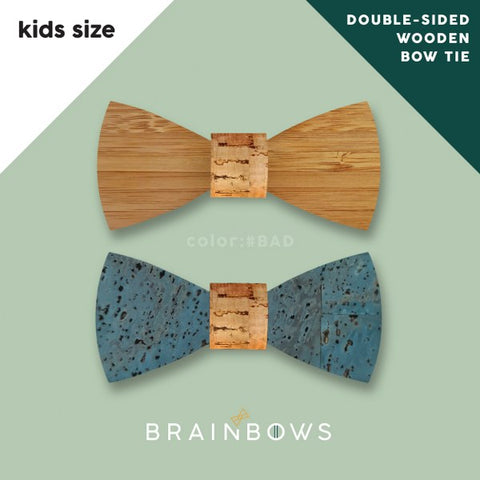 bamboo wooden bow tie with cork fabric for kids