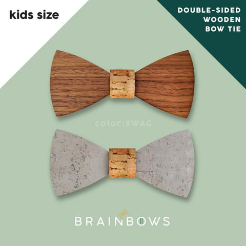 wooden bow tie with cork fabric kids size