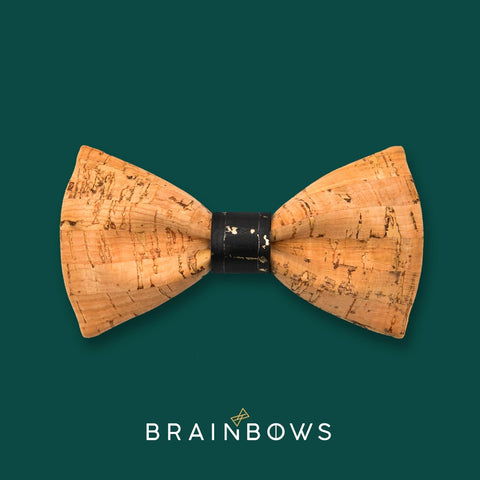 bamboo cork bow tie with black and gold core