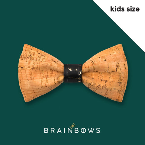 kids cork bow tie with black and gold core