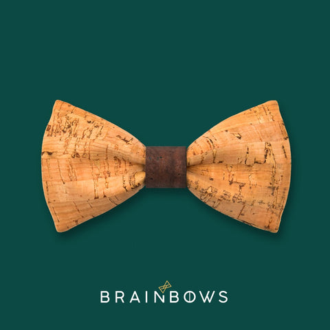bamboo cork bow tie with brown chocolate core