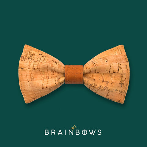 bamboo cork bow tie with brown cognac core
