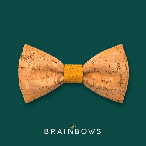 bamboo cork bow tie with yellow mustard core