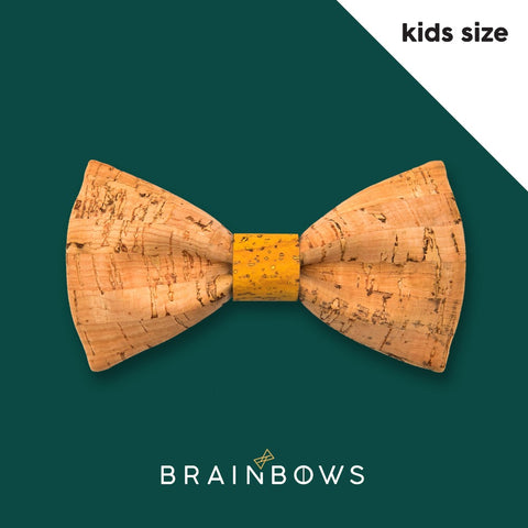kids cork bow tie with yellow core