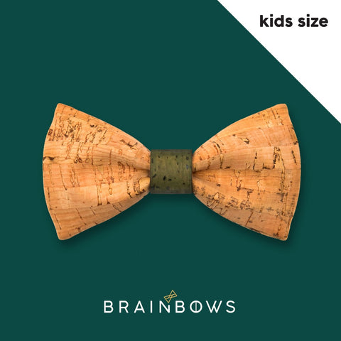 kids cork bow tie with green core