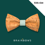kids cork bow tie with mint core