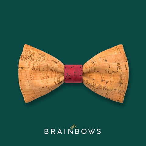 bamboo cork bow tie with dark red core