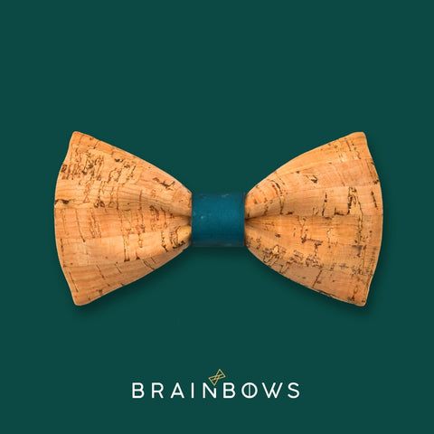 bamboo cork bow tie with teal turquoise core