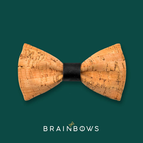 bamboo cork bow tie with black core