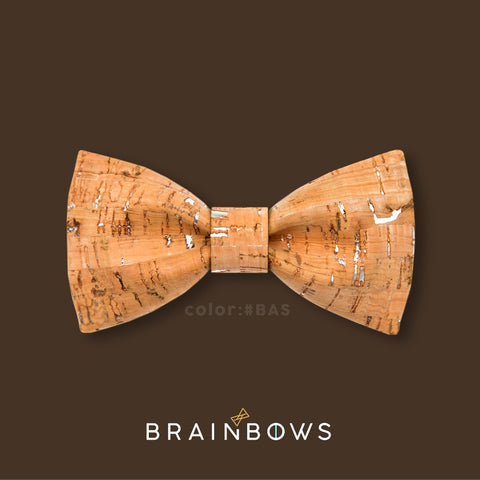 bamboo and silver cork bow tie