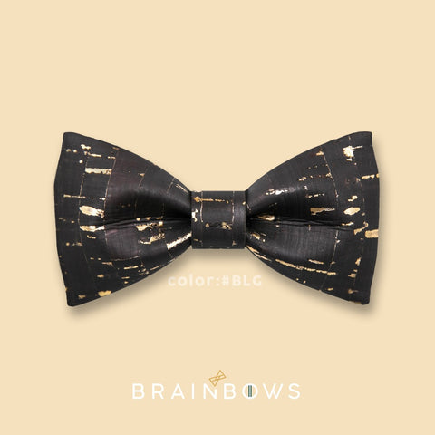 black and gold cork bow tie