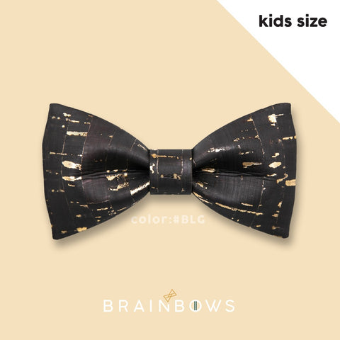 kids hipbow cork bow tie black and gold