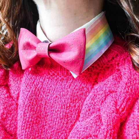 Charlotte Jacobs hot pink bow tie