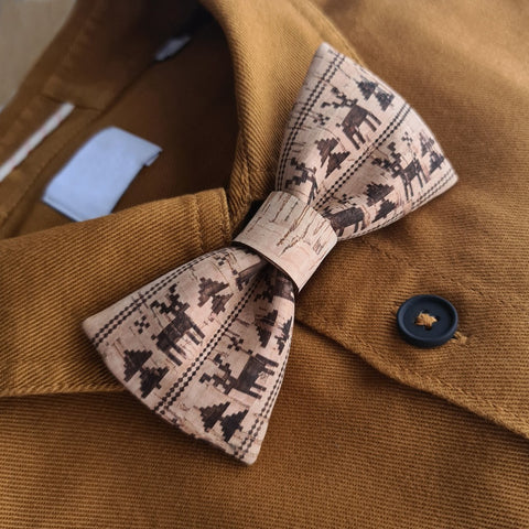 cork bow tie bamboo engraved deers christmas