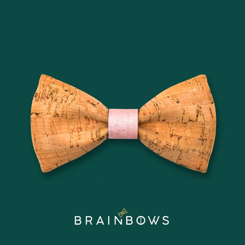 bamboo cork bow tie with pink champagne core