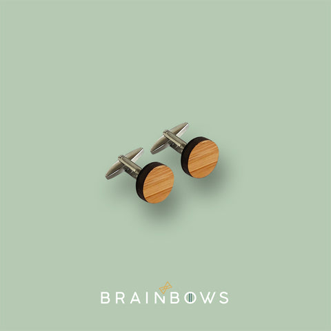 stainless steel cufflinks with bamboo wood