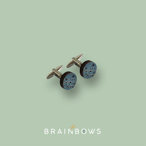 stainless steel CUFFLINKS wood + blue cork