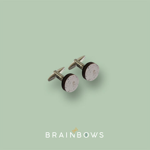 stainless steel cufflinks with grey cork fabric