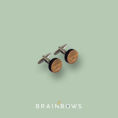 stainless steel cufflinks with walnut
