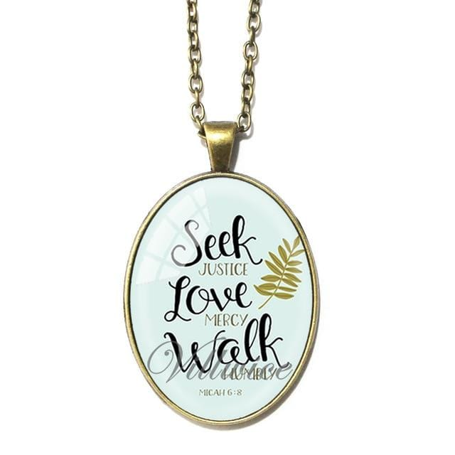 Seek Justice, Love Mercy Oval Necklace - My Christian Shop
