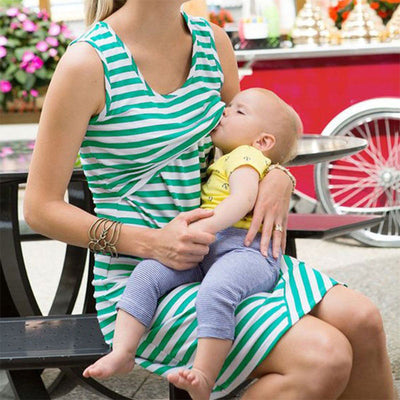 Effective Breastfeeding Sleeveless Breastfeeding Maternity Dress
