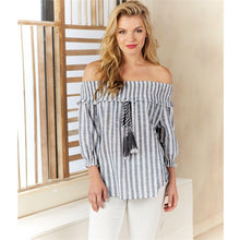 Load image into Gallery viewer, Off shoulder white and gray top