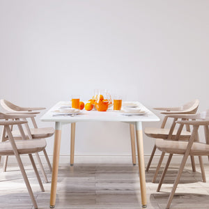 Dining Table 6 Seater 120 x 80cm White Replica  DSW Cafe Kitchen Retro Timber Wood MDF Rectangular Tables