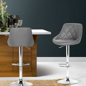 2x Bar Stools Kitchen Gas Lift Swivel Chairs Leather Chrome Grey