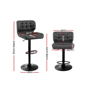 2x Kitchen Bar Stools Gas Lift Bar Stool Chairs Swivel Leather Black Grey