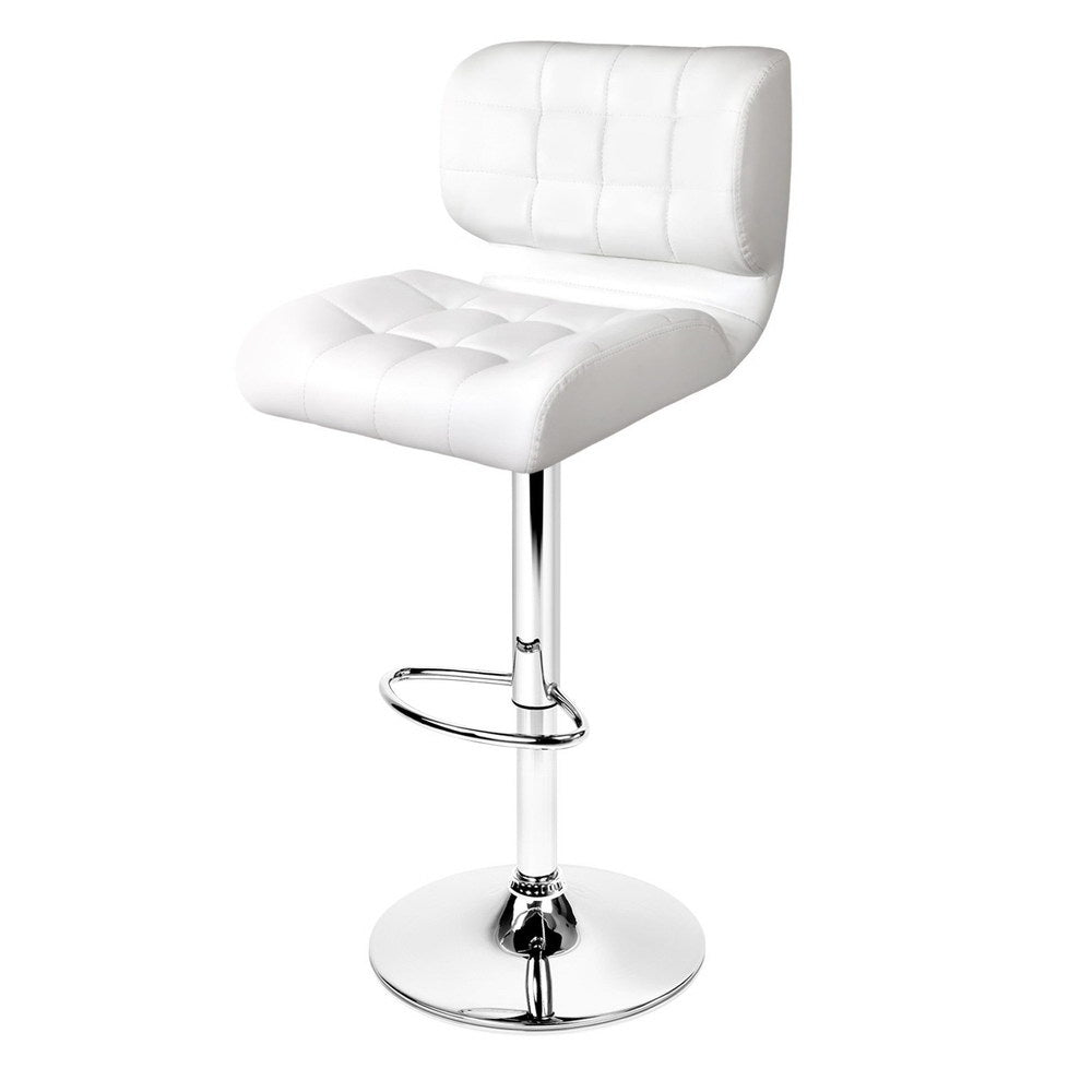 Set of 2 PU Leather Gas Lift Bar Stools - White