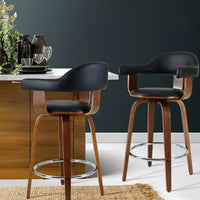2x Bar Stools Wooden Swivel Bar Stool Kitchen Dining Chair Wood Black