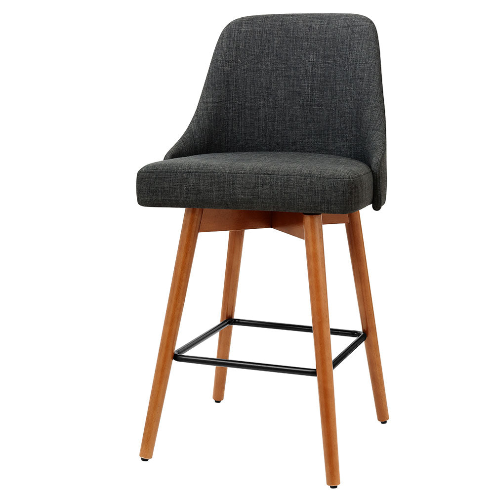 2x Wooden Bar Stools Swivel Bar Stool Kitchen Cafe Fabric Charcoal