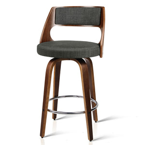 2 x  Wooden Swivel Bar Stools Kitchen Counter Barstool Charcoal Fabric