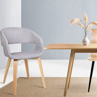Set of 2 Timber Wood and Fabric Dining Chairs - Light Grey