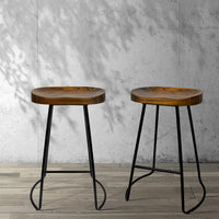 Set of 2 Wooden Backless Bar Stools - Black