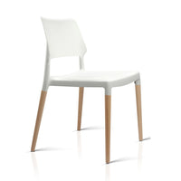 Set of 4 Wooden Stackable Dining Chairs - White