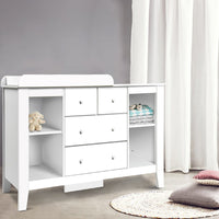 Change Table with Drawers - White