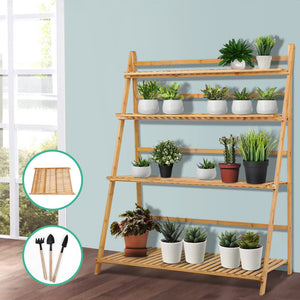 Bamboo Wooden Ladder Shelf Plant Stand Foldable