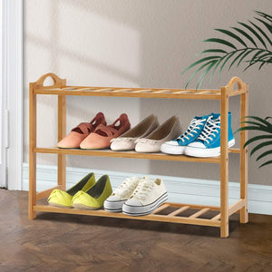 3 Tiers Bamboo Shoe Rack Storage Organiser Wooden Shelf Stand Shelves