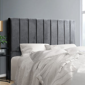 Double Size Bed Head Headboard Bedhead Bed Frame Base VELA Grey Fabric