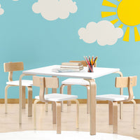 5PCS Childrens Table and Chairs Set Kids Furniture Toy Dining White Desk