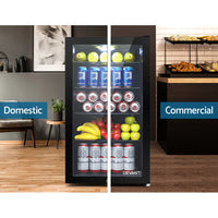 98L Bar Fridge Glass Door Mini Freezer Fridges Countertop Beverage Commercial