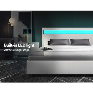 LED Bed Frame Double Full Size Gas Lift Base With Storage White Leather