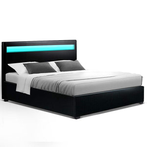 LED Bed Frame Queen Size Gas Lift Base With Storage Black Leather