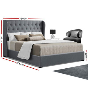 Double Full Size Gas Lift Bed Frame Base With Storage Mattress Grey Fabric Wooden