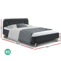 King Single Size Bed Frame Base Mattress Fabric Wooden Charcoal POLA