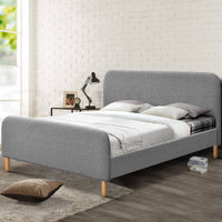 Queen Size Fabric and Wood Bed Frame Headboard - Grey