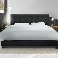 King Size Bed Frame Base Mattress Platform Charcoal Fabric Wooden